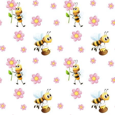 Illustratie van een naadloze design met bijen en bloemen op een witte achtergrond