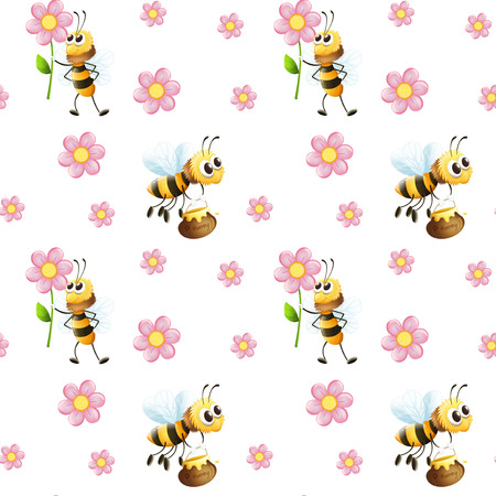 Illustration of a seamless design with bees and flowers on a white background