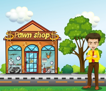 pawn shop: Illustration of a businessman standing in front of the pawn shop
