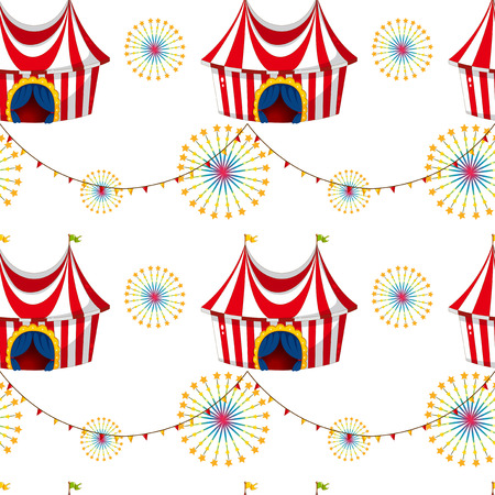 Illustration of a seamless template with tents on a white background Vector