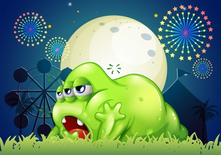 Illustration of a sleepy green monster at the amusement park Vector
