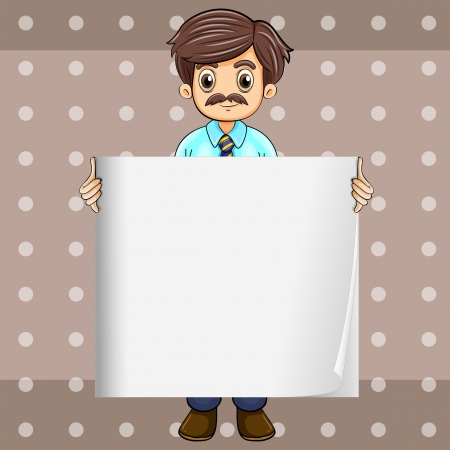 Illustration of a man with a mustache holding an empty board Vector