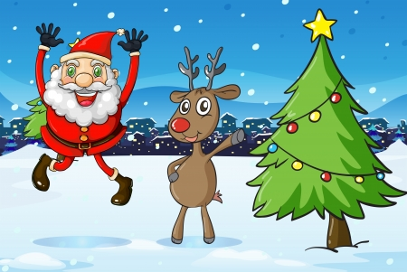 rudolph: Illustration of Santa and a deer beside the christmas tree