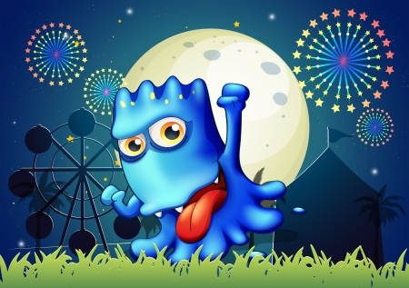 Illustration of a park with a boastful blue monster Vector