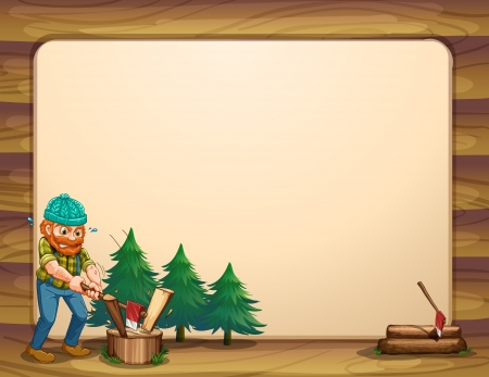 Illustration of an empty template with a man chopping woods in front Vector