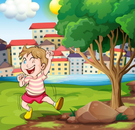 Illustration of a happy kid near the tree at the riverbank beside the tall buildings Vector