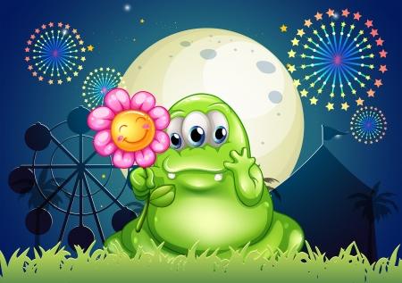 Illustratie van een vet groen monster met een bloem in het carnaval met een vuurwerk