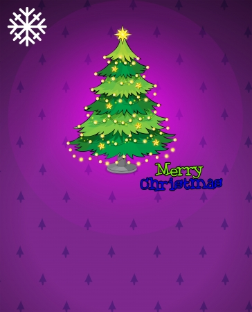 Illustration of a violet christmas card with a christmas tree Stock Vector - 23822696