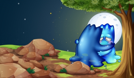 Illustration of a monster comforting a friend near the tree Vector