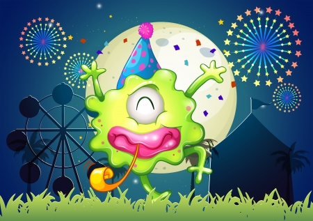 Illustration of a happy one-eyed monster at the carnival with a firework display