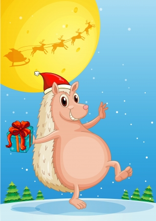 Illustration of a molehog holding a gift Vector