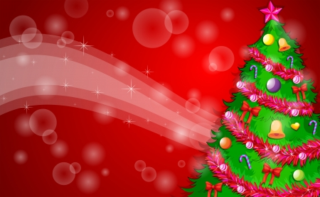 Illustration of a red christmas design with a green christmas tree Vector