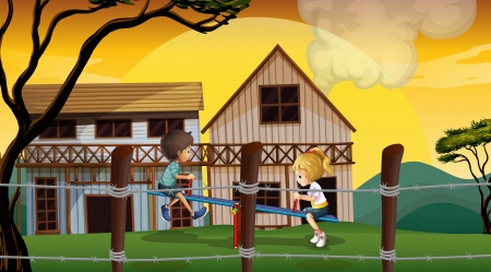Illustration of the kids playing seesaw in front of the wooden barnhouses Vector