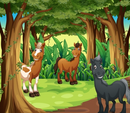 Illustration of a forest with three smiling horses Stock Vector - 23822960