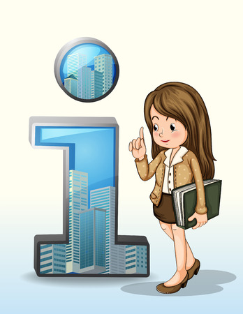 one girl: Illustration of a business person beside the number one figure with buildings on a white background
