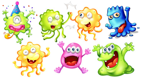 Illustration of the happy monsters on a white background Vector