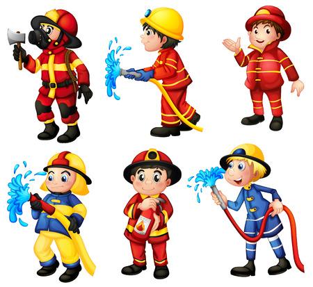 brandweer cartoon: Illustratie van de brandweerlieden op een witte achtergrond