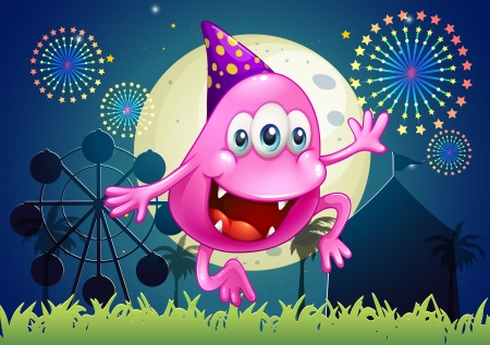 beanie: Illustration of a happy pink beanie monster at the carnival Illustration