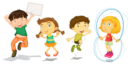 group jumping: Illustration of the active kids playing on a white background