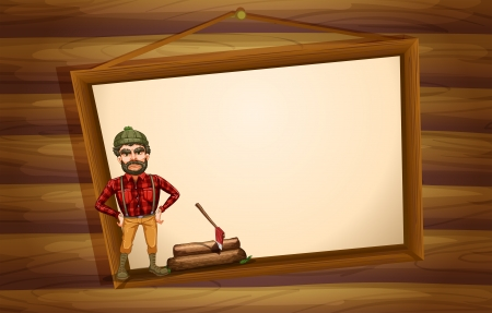 Illustration of a woodman standing in front of the hanging empty board Vector