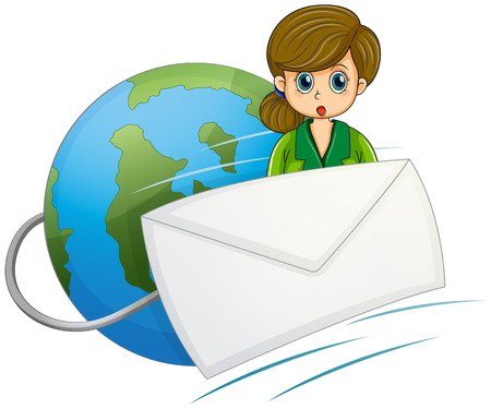 Illustration of a girl at the back of the envelope near the globe on a white background