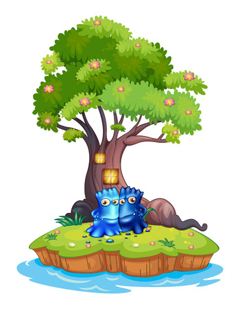 Illustration of the two monsters near the tree house in the island on a white background Vector