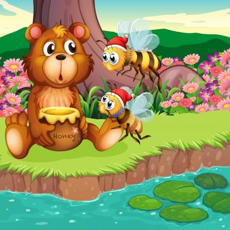 riverbank: Illustration of a big bear and bees at the riverbank