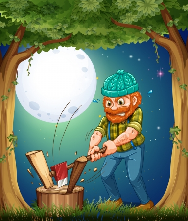 hardworking: Illustration of a forest with a hardworking woodman chopping woods Illustration