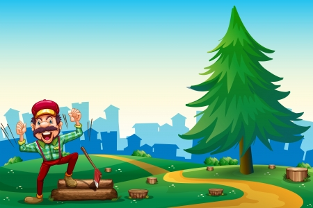 Illustration of a woodman chopping woods at the hilltop near the pine tree Vector