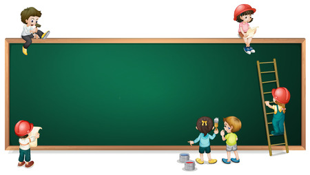 multiple image: Illustration of the kids around the empty greenboard on a white background