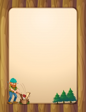 Illustration of a busy lumberjack in front of the empty wooden template Vector