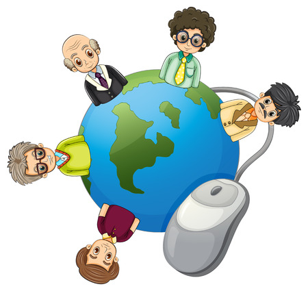 Illustration of the businessmen around the globe on a white background Vector