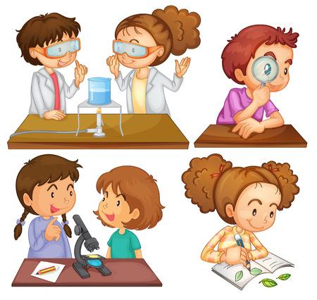 Illustration der kleinen Wissenschaftler auf einem weißen Hintergrund Standard-Bild - 23823051