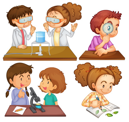 Illustration of the little scientists on a white background Vector