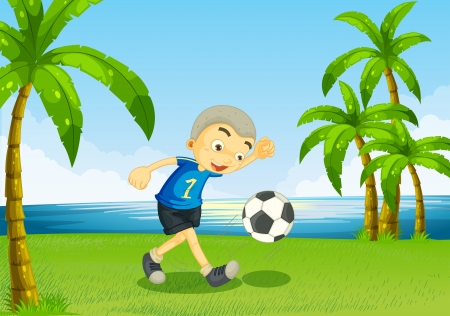riverside trees: Illustration of a young soccer player at the riverside with palm trees