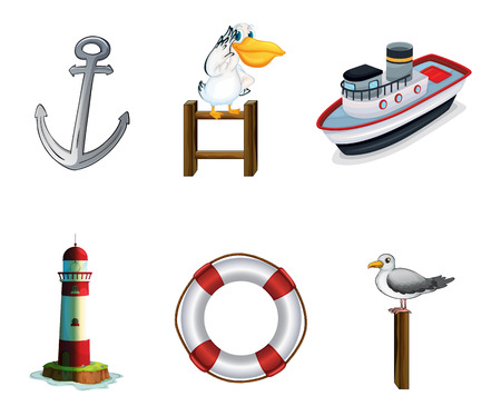 seaport: Illustration of the different things found at the port on a white background