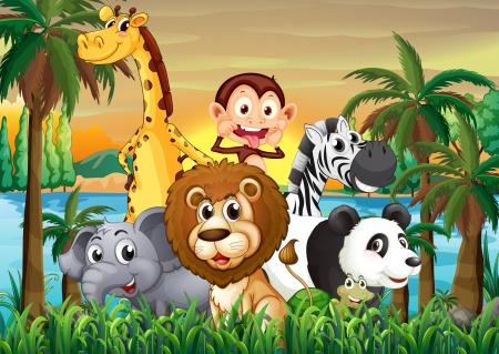 selva caricatura: Ilustraci�n de un grupo de animales en la orilla del r�o con �rboles de coco