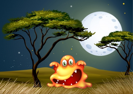 scaring: Illustration of a monster near the tree scaring in the middle of the night Illustration