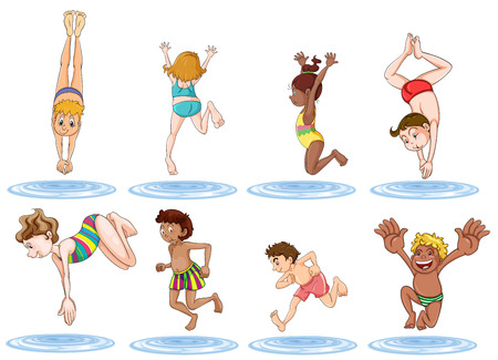 playtime: Illustration of the different kids enjoying the water on a white background