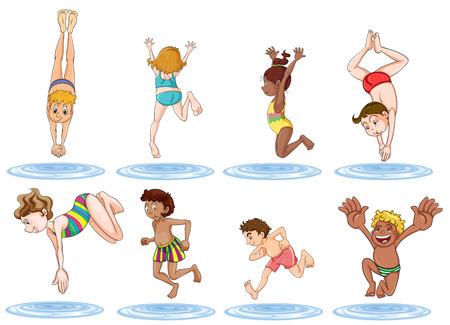 playmates: Ilustraci�n de los diferentes ni�os disfrutando el agua sobre un fondo blanco