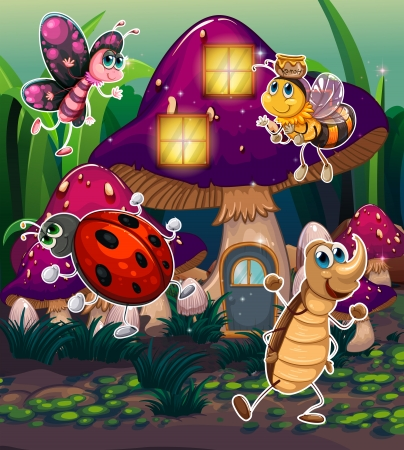 ladybug cartoon: Illustration of the different insects near the mushroom house Illustration