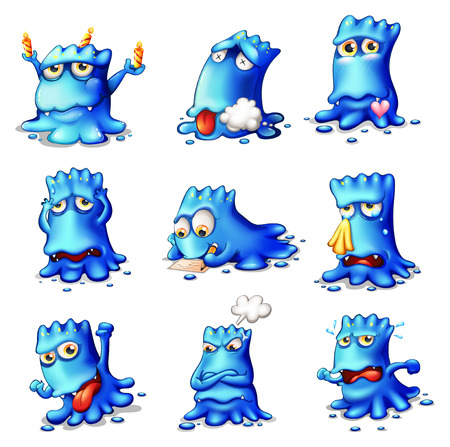 problematic: Illustration of the nine blue monsters on a white background