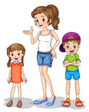 mujer feliz fondo blanco: Ilustraci�n de una ni�a y sus hermanos sobre un fondo en blanco