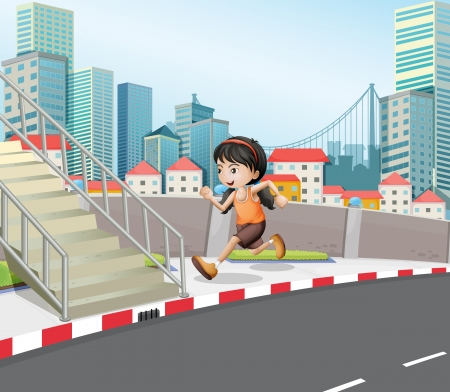 Illustration of a girl running at the street near the stairs Vector