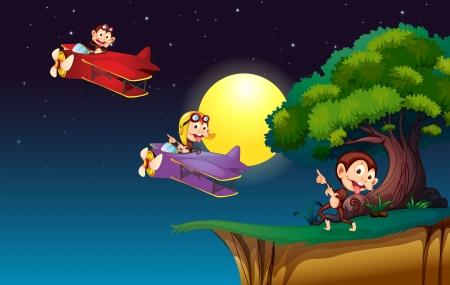 jetplane: Illustration of the monkeys on a plane flying near the cliff