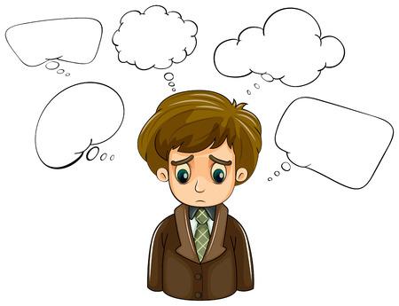 denkender mensch: Illustration eines traurigen Mann mit einem braunen Mantel und leere Beschriftungen auf einem wei�en Hintergrund Illustration