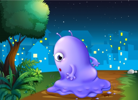lighted: Illustration of a purple monster strolling in the middle of the night Illustration