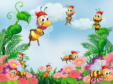 Illustration of a garden with bees Vector