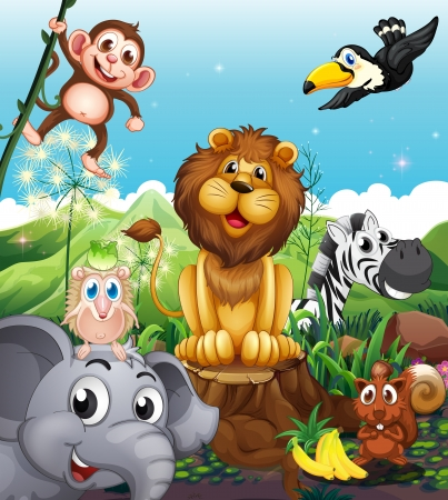 cartoon food: Illustration of a lion above the stump surrounded with playful animals
