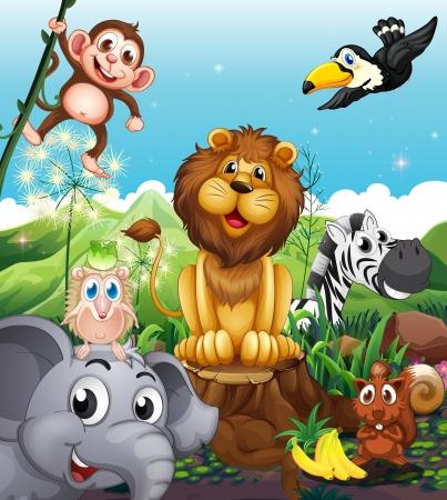 surrounded: Illustrazione di un leone sopra il moncone circondato con gli animali giocosi